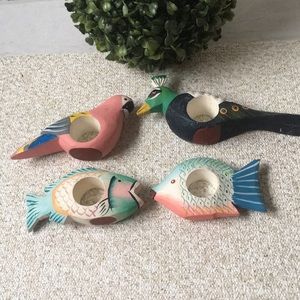 Other - Tropical Birds and Fish Wooden Napkin Ring Set